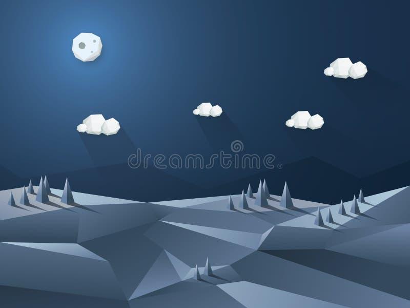 Низкая поли сцена ночи ландшафта 3d Природа иллюстрация вектора