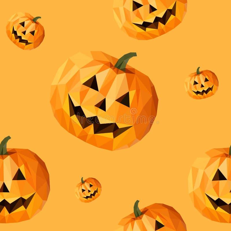 Низкая поли тыква картины полигона для текстуры хеллоуина безшовной иллюстрация вектора