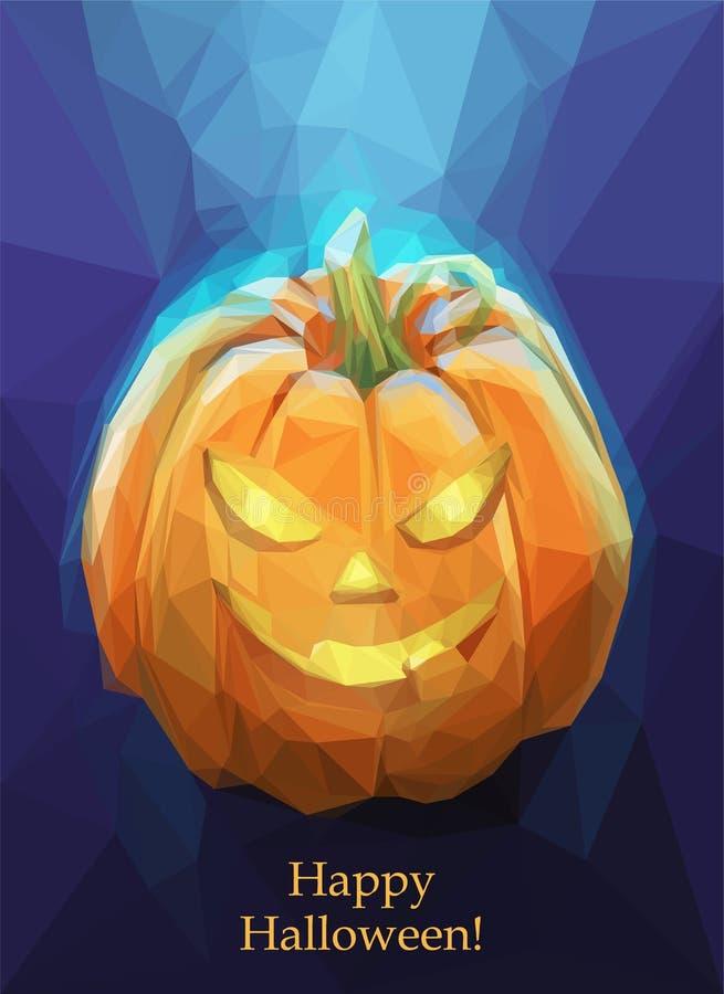 Низкая поли тыква полигона на хеллоуин иллюстрация штока