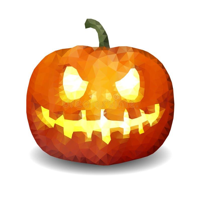 Низкая поли тыква хеллоуин смотрит на иллюстрация штока