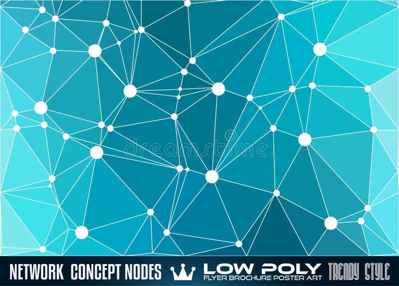 Низкая поли trangular сеть с предпосылкой узлов для вашей футуристической рогульки иллюстрация вектора