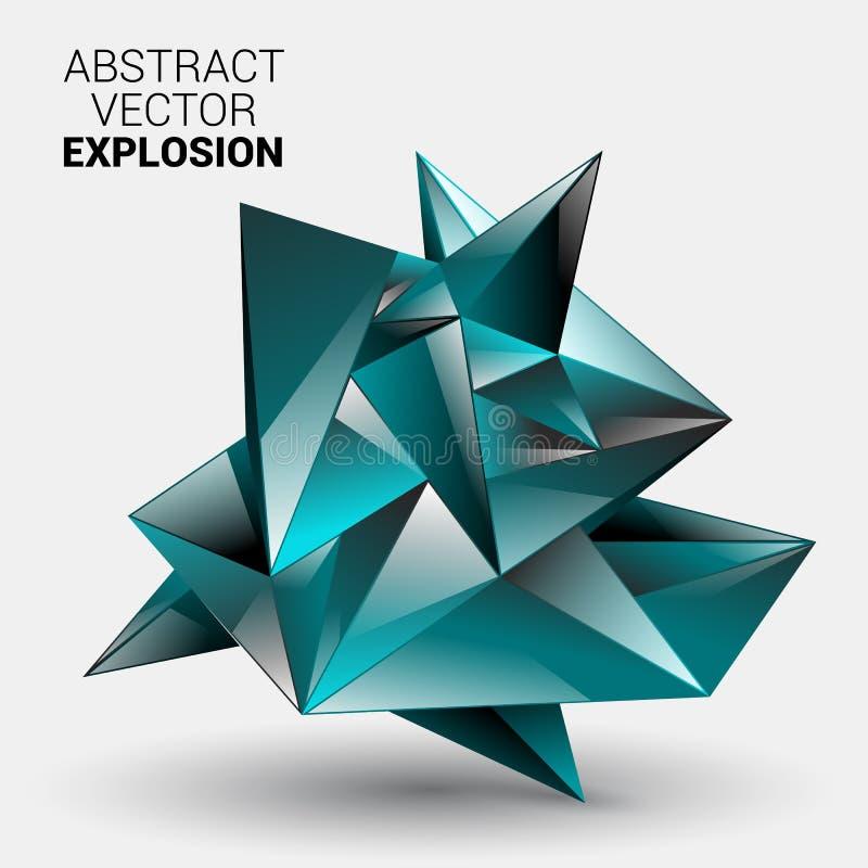 низкая предпосылка геометрии полигона 3D Абстрактная полигональная геометрическая форма Искусство стиля Lowpoly минимальное также иллюстрация штока