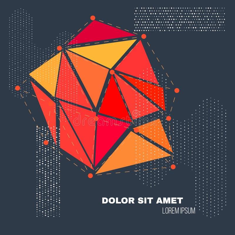 низкая предпосылка геометрии полигона 3D Абстрактная полигональная геометрическая форма Искусство стиля Lowpoly минимальное векто иллюстрация вектора