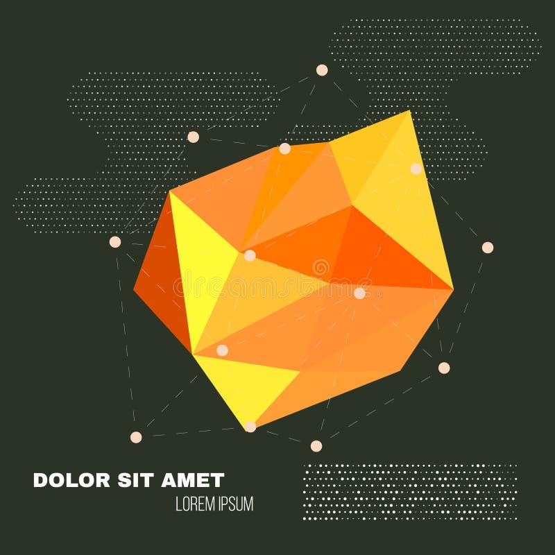 низкая предпосылка геометрии полигона 3D Абстрактная полигональная геометрическая форма Искусство стиля Lowpoly минимальное векто иллюстрация штока