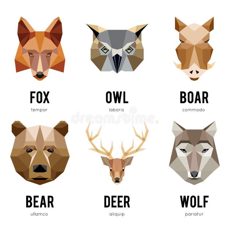 Низкие логотипы животного полигона Триангулярный геометрический комплект логотипа животных иллюстрация вектора