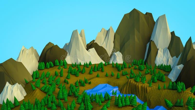 Низкие полигональные деревья и горы E Компьютерная графика r иллюстрация штока