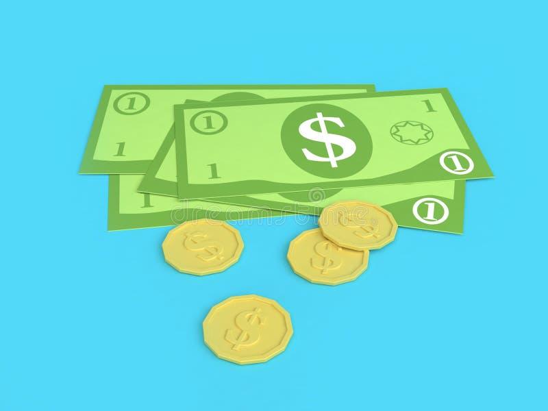 низкие поли 3d много наличные деньги доллара США и мультфильм минимальное 3d монетки представляют бесплатная иллюстрация