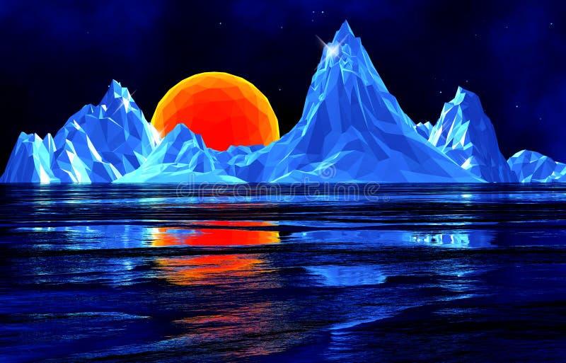 Низкие поли горы льда с солнцем иллюстрация вектора