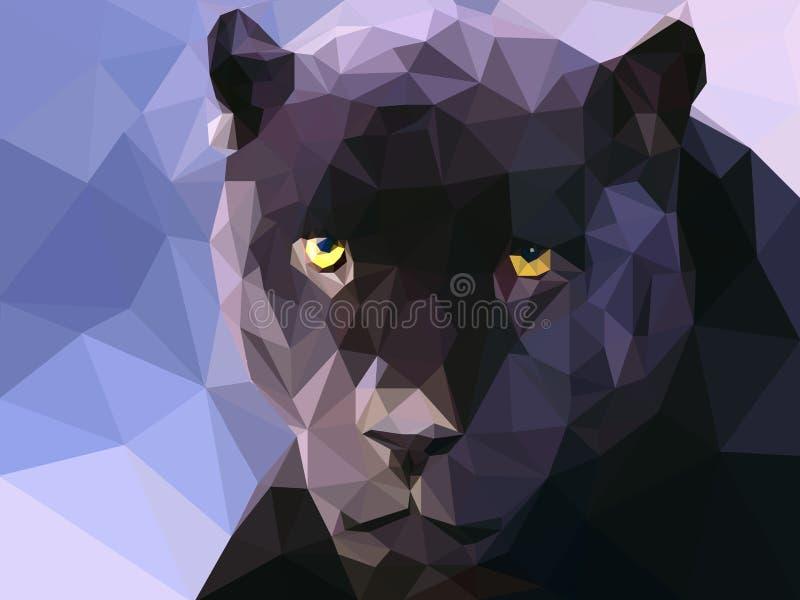 Низкие поли обои иллюстрации пантеры стоковая фотография