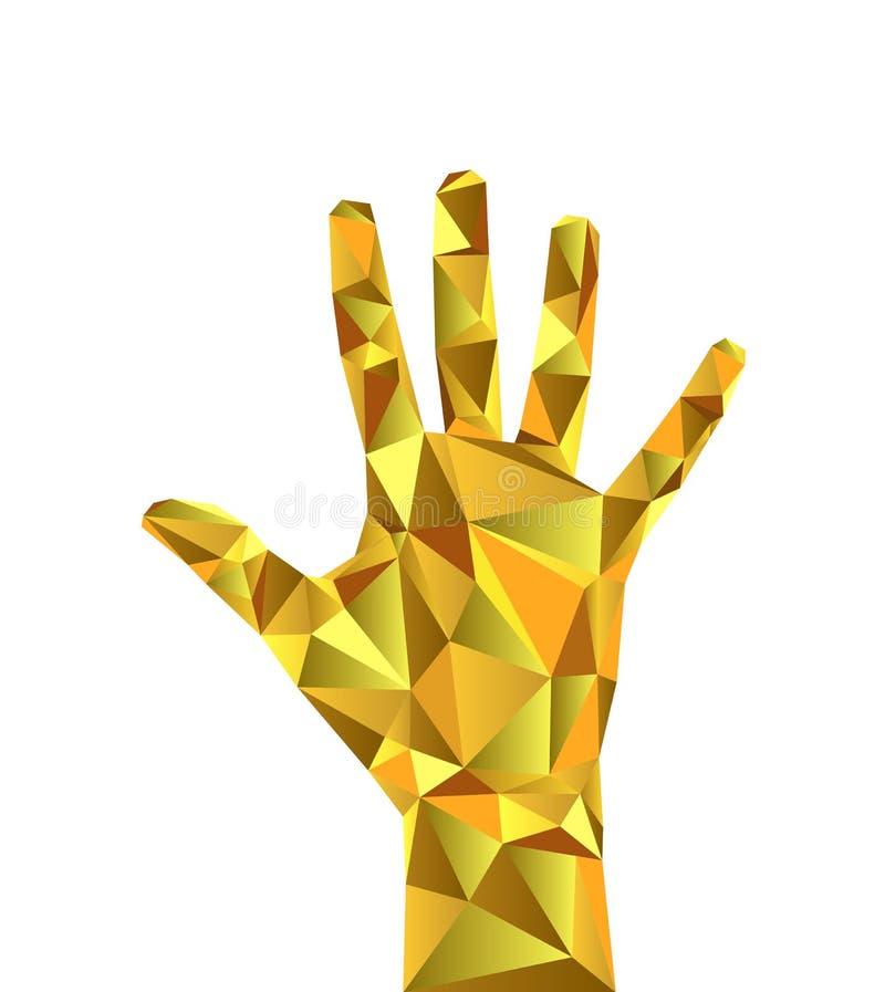 Низкие поли полигональные ювелирные изделия золота запястья руки руки тела иллюстрация штока