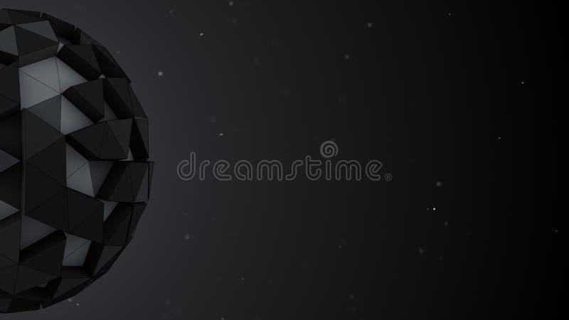 Низкие поли сфера и открытый космос Абстрактные 3D представляют иллюстрацию иллюстрация вектора