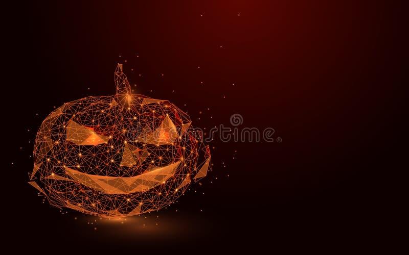 Низкий апельсин полигона выравнивает сетку wireframe тыквы на темноте - красной предпосылке иллюстрация штока