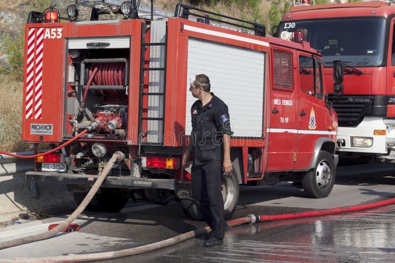 Низкий пожар на пуще Seich Sou - Thessaloniki маштаба, Греция стоковые фотографии rf