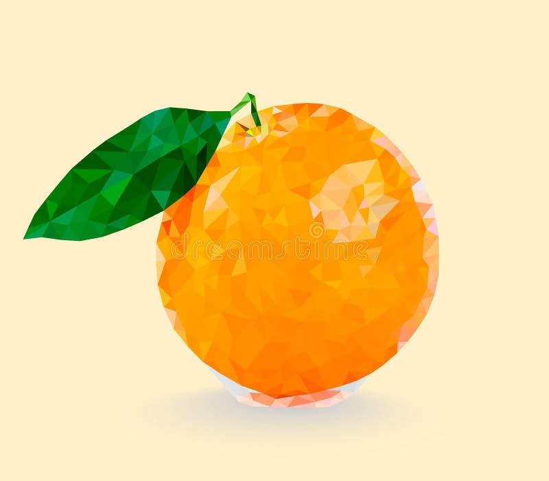 Низкий поли апельсин с лист, вектором иллюстрация вектора