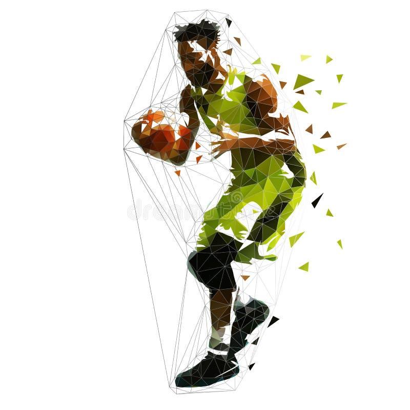 Низкий поли баскетболист иллюстрация вектора