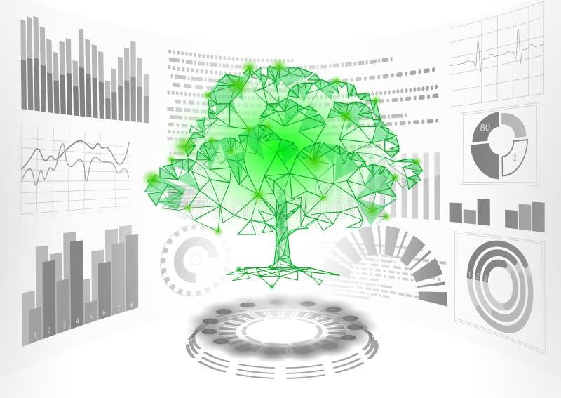 низкий поли дисплей дерева HUD UI зеленого растения 3D Будущая полигональная линия конспект пункта треугольника решения проблем э иллюстрация штока