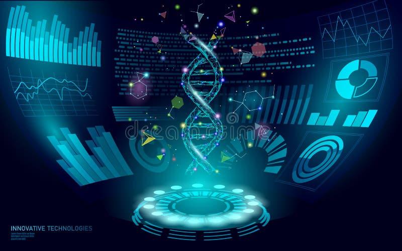 низкий поли дисплей ДНК HUD UI генотерапии 3D Будущая полигональная линия здоровый голубой абстрактный геном пункта треугольника  иллюстрация вектора