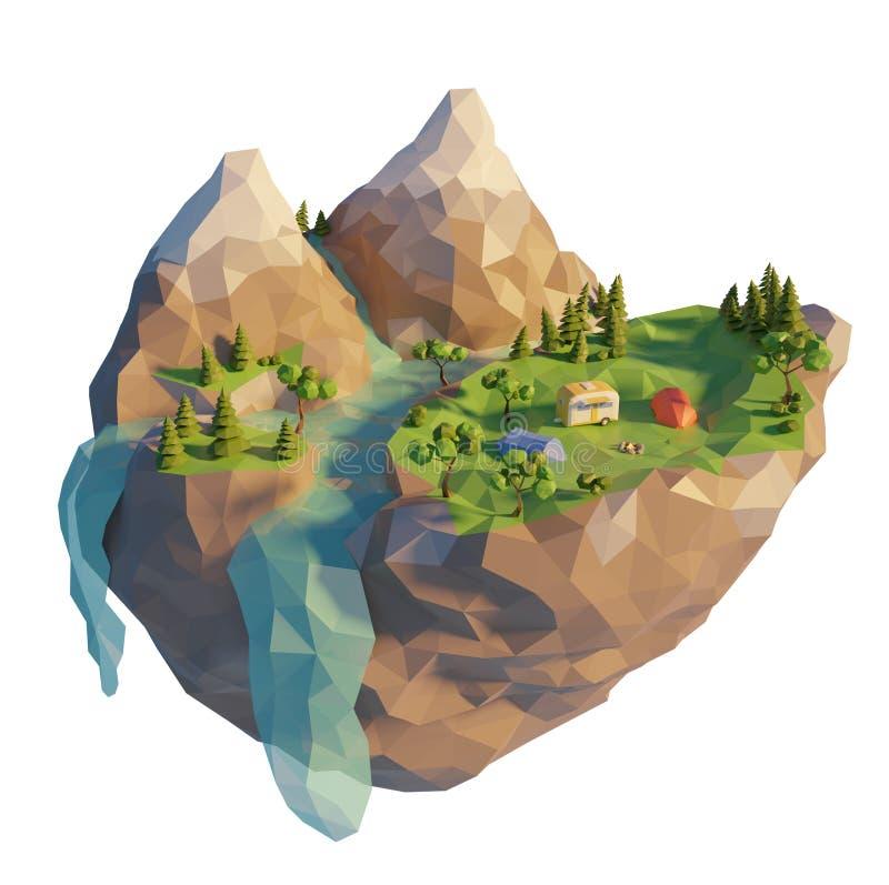 низкий поли жилой фургон 3d в лесе около холма реки и горы Туристские деятельности при лета располагаясь лагерем шатра на открыто иллюстрация вектора