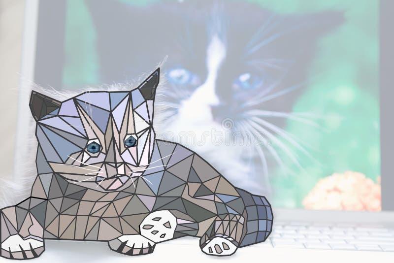Низкий поли кот сидит на компьтер-книжке стоковые изображения