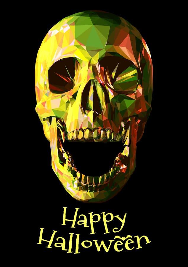 Низкий поли красочный череп на темном BG на хеллоуин иллюстрация штока