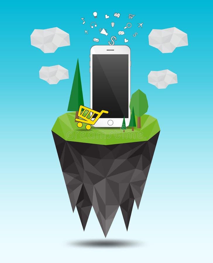 Низкий поли ландшафт острова Дерево и дом, smartphone, infographics, полигональный вектор бесплатная иллюстрация