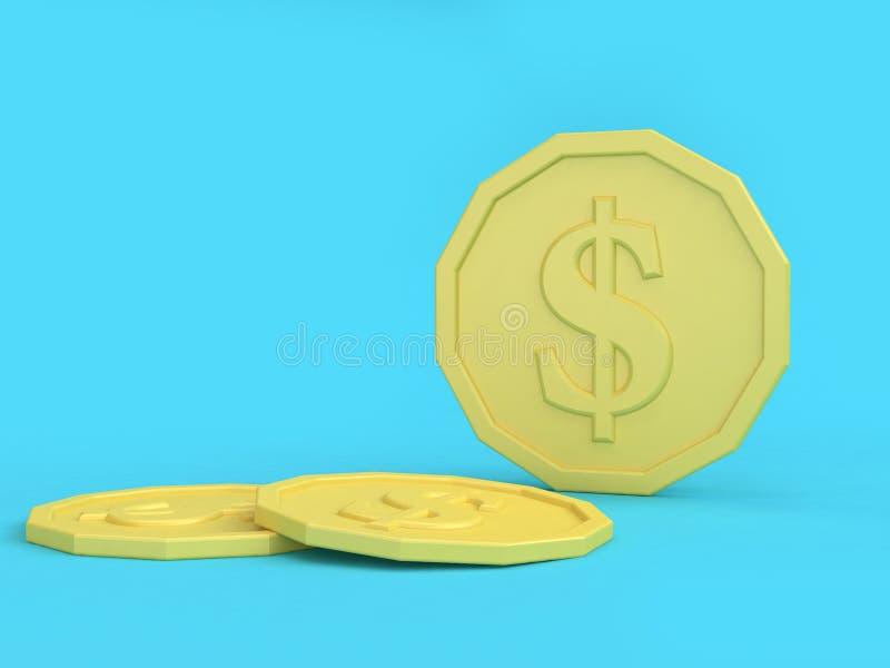 Низкий поли мультфильм кучи монетки вводит 3d в моду для того чтобы представить бесплатная иллюстрация