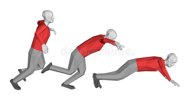 Низкий поли падать человека белизна изолированная предпосылкой Illus вектора иллюстрация штока