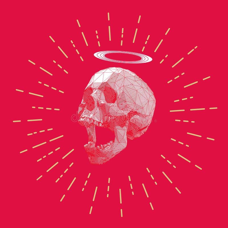 Низкий поли череп нашивки с чертежом starburst иллюстрация вектора