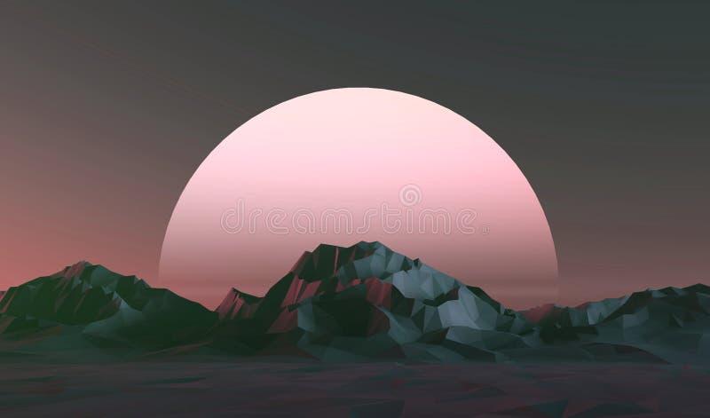 Низкий поли ландшафт гор на заходе солнца иллюстрация вектора