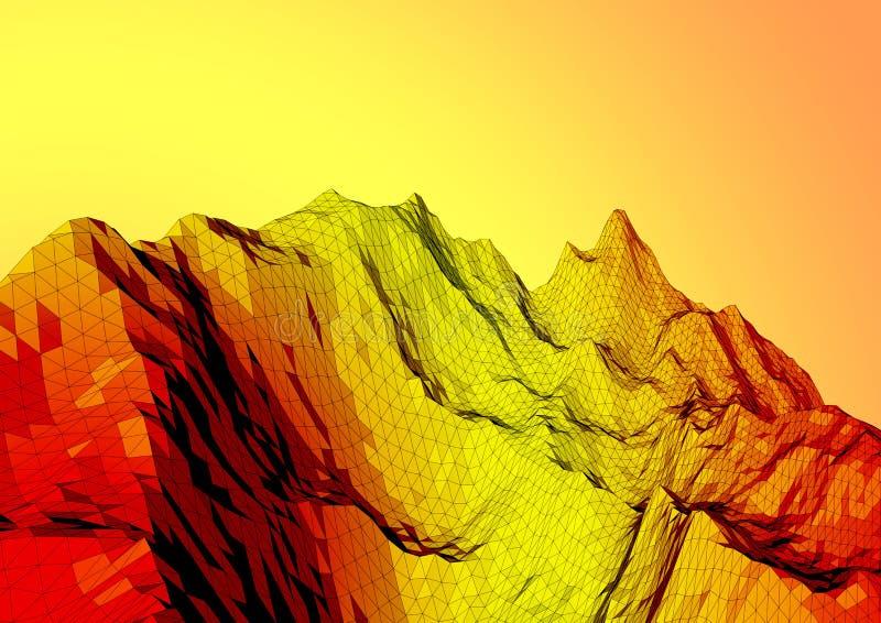 Низкий поли ландшафт гор Полигональная предпосылка иллюстрация вектора
