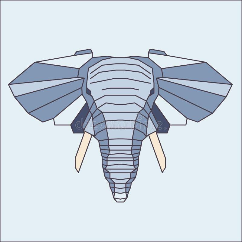 Низкий поли голубой слон иллюстрация вектора