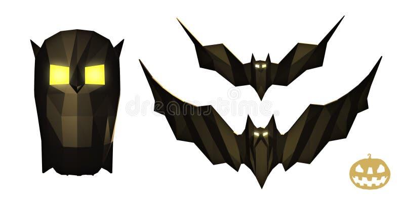 Низкий поли комплект с популярными атрибутами хеллоуина праздника иллюстрация вектора
