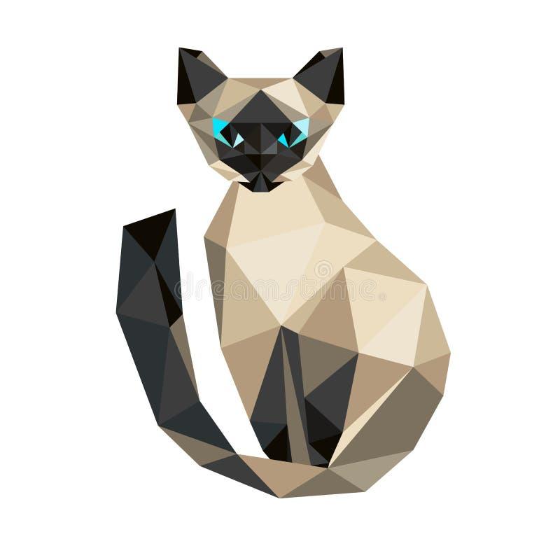 Низкий поли кот Котенок полигонального stile треугольника сиамский Плоский des иллюстрация штока