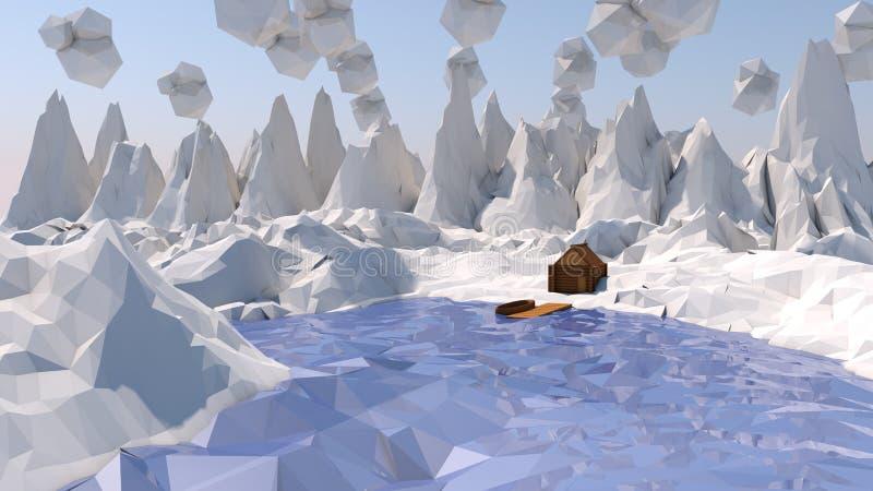 Низкий поли снежный ландшафт стоковые фотографии rf
