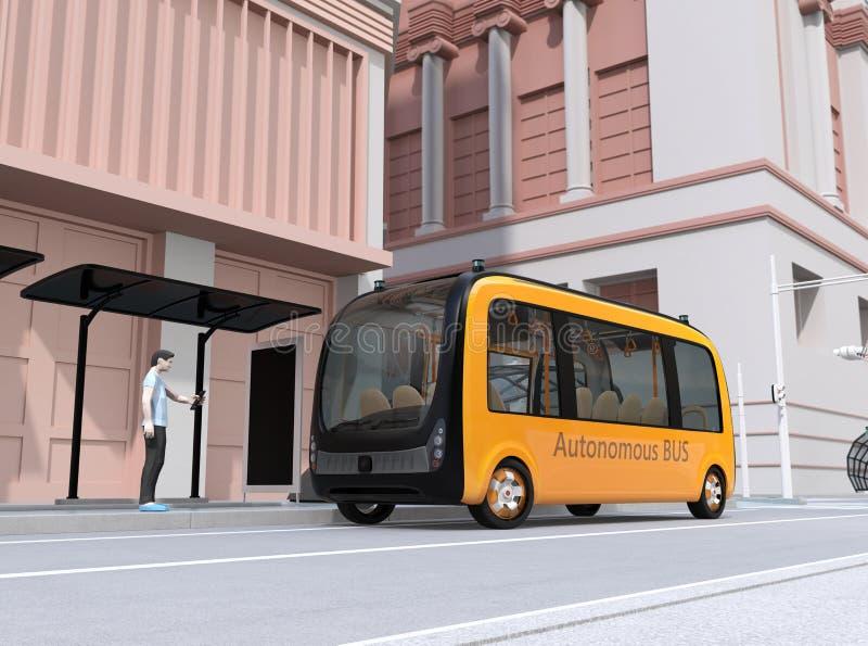 Низкий человек стиля полигона используя смартфон для того чтобы спросить езду деля само-управляя пригородный автобус иллюстрация штока
