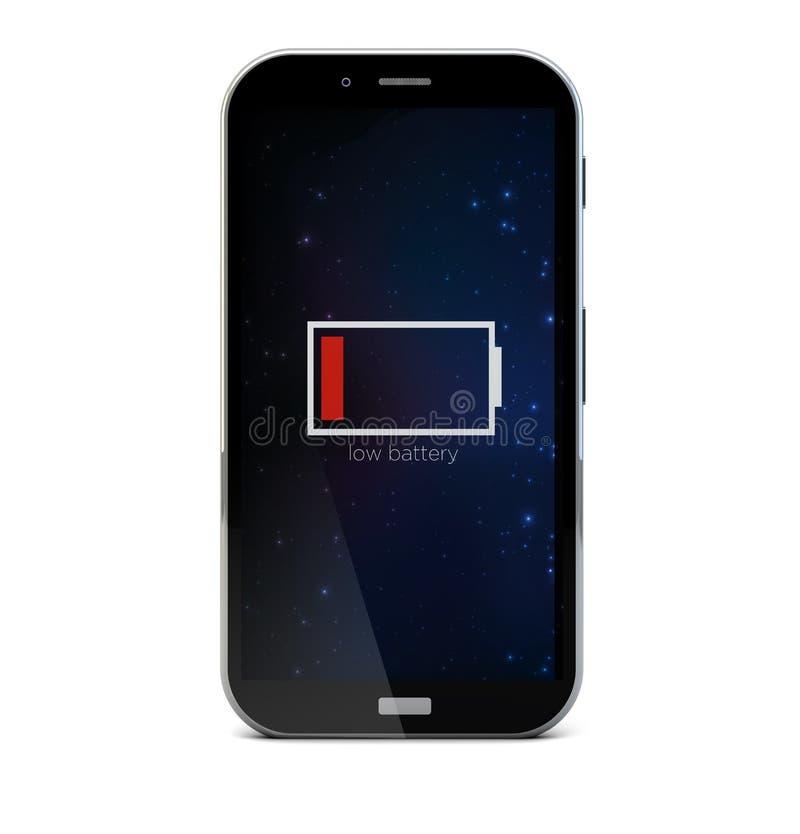Низкий smartphone батареи иллюстрация вектора
