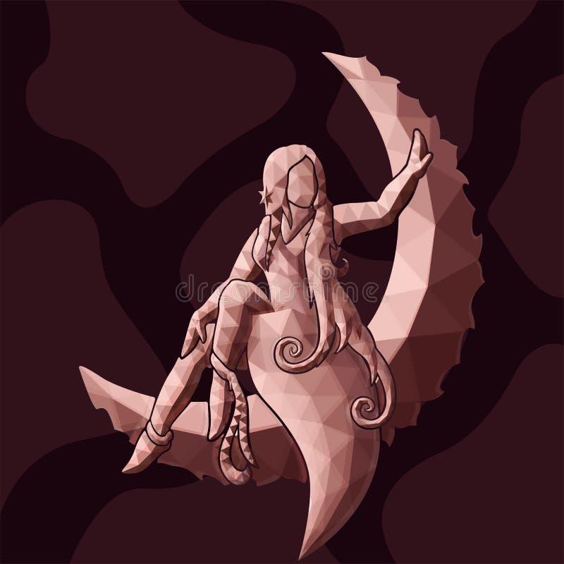 Низкое поли искусство с розовым силуэтом девушки на луне иллюстрация штока