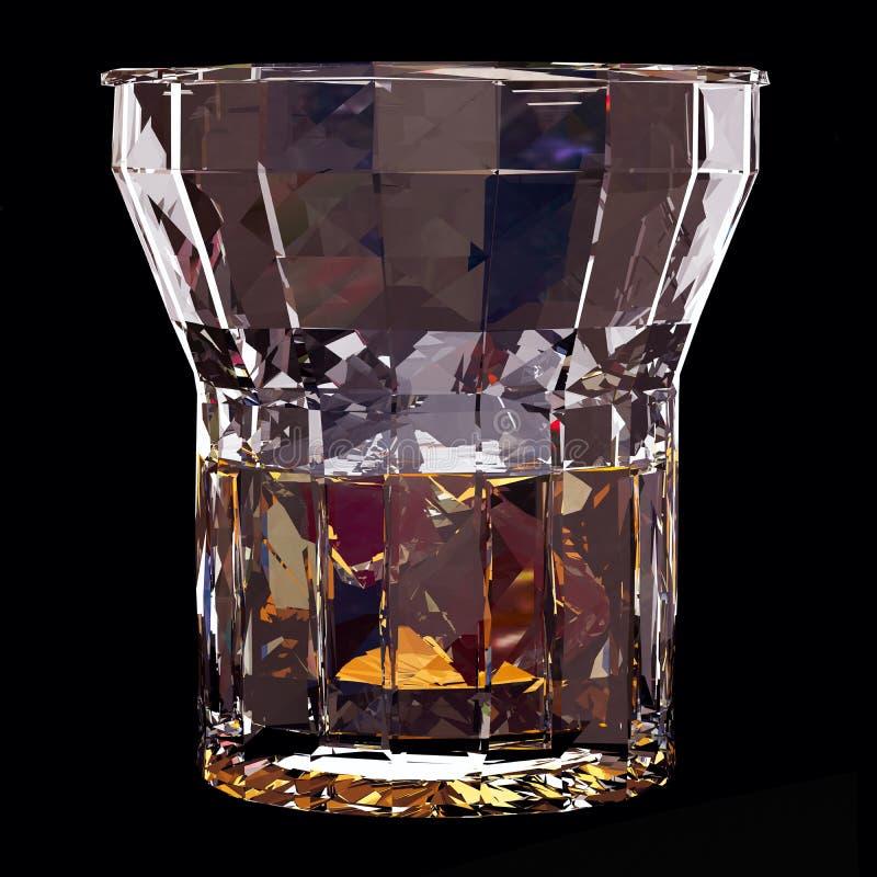 Низкое поли стекло вискиа с льдом на черной предпосылке бесплатная иллюстрация
