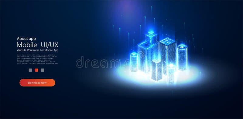 Низкое поли умное wireframe города Stardust искры иллюстрация вектора