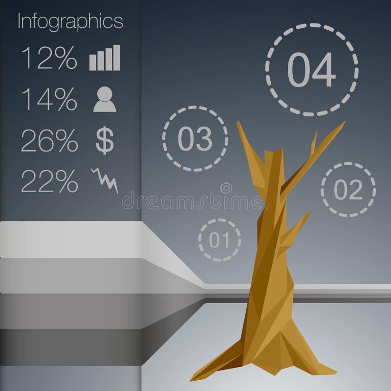Низкое полигональное дерево infographics с различными символами стоковая фотография