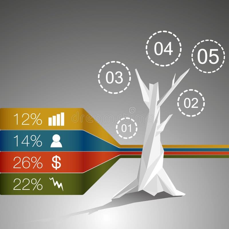 Низкое полигональное дерево infographics с различными символами бесплатная иллюстрация