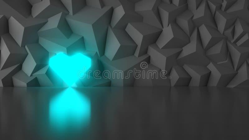 Низко-поли сердце сини геометрии стоковые фото