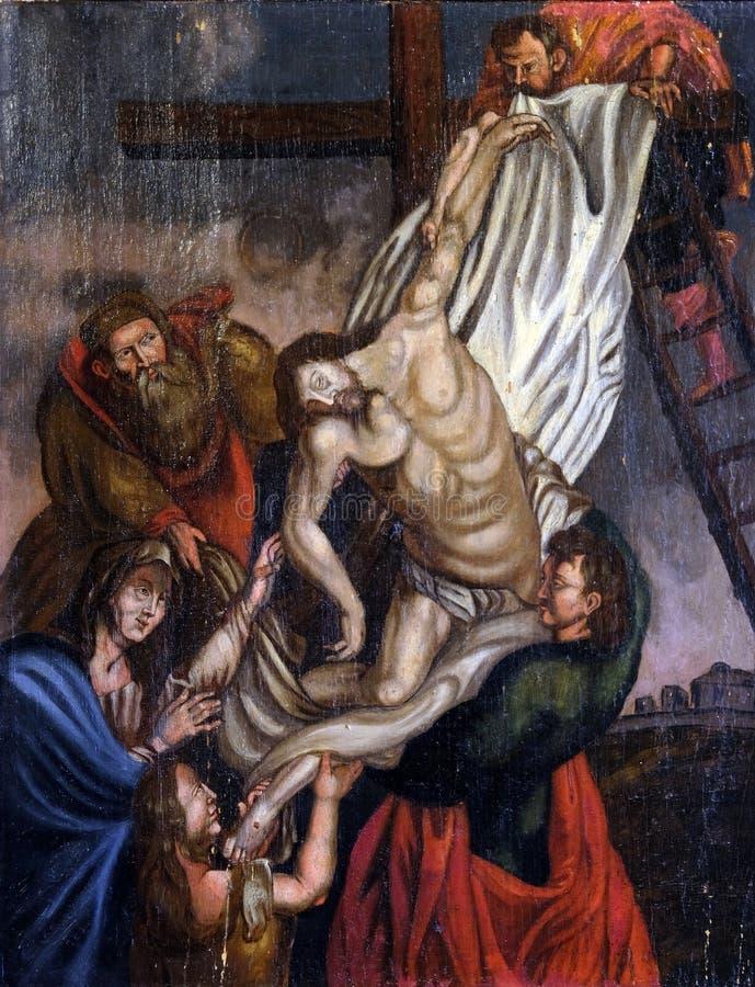 Низложение Христоса от креста стоковое изображение