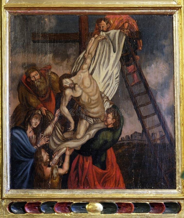 Низложение Христоса от креста стоковая фотография