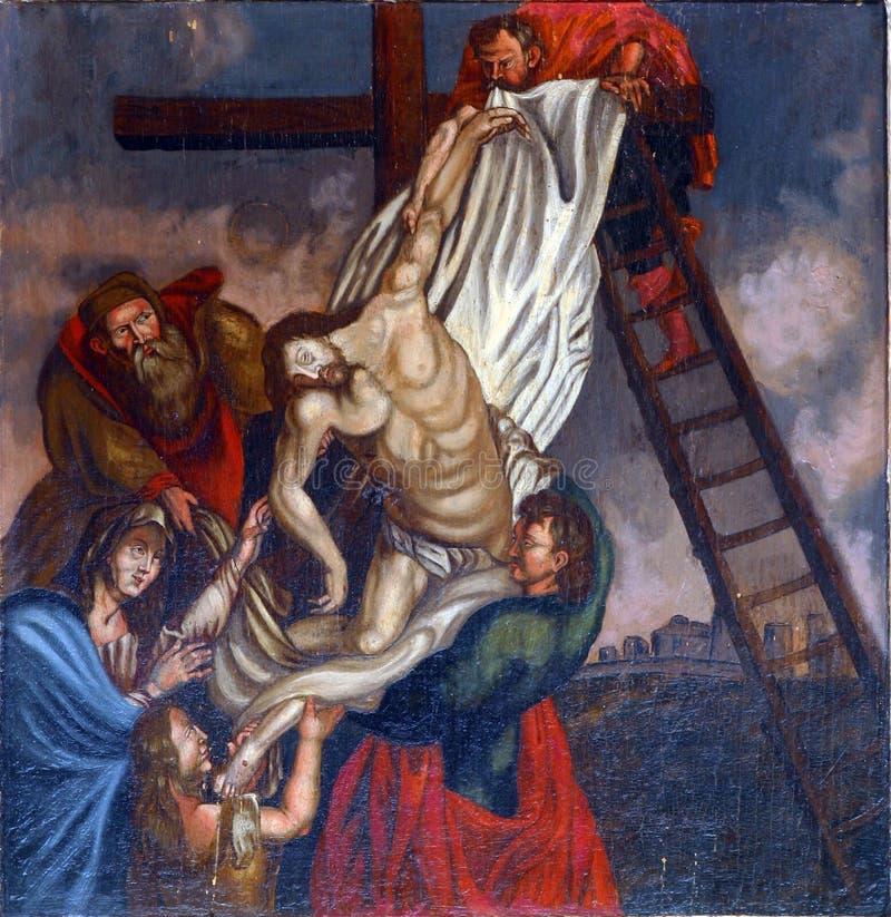 Низложение Иисус от креста стоковая фотография rf