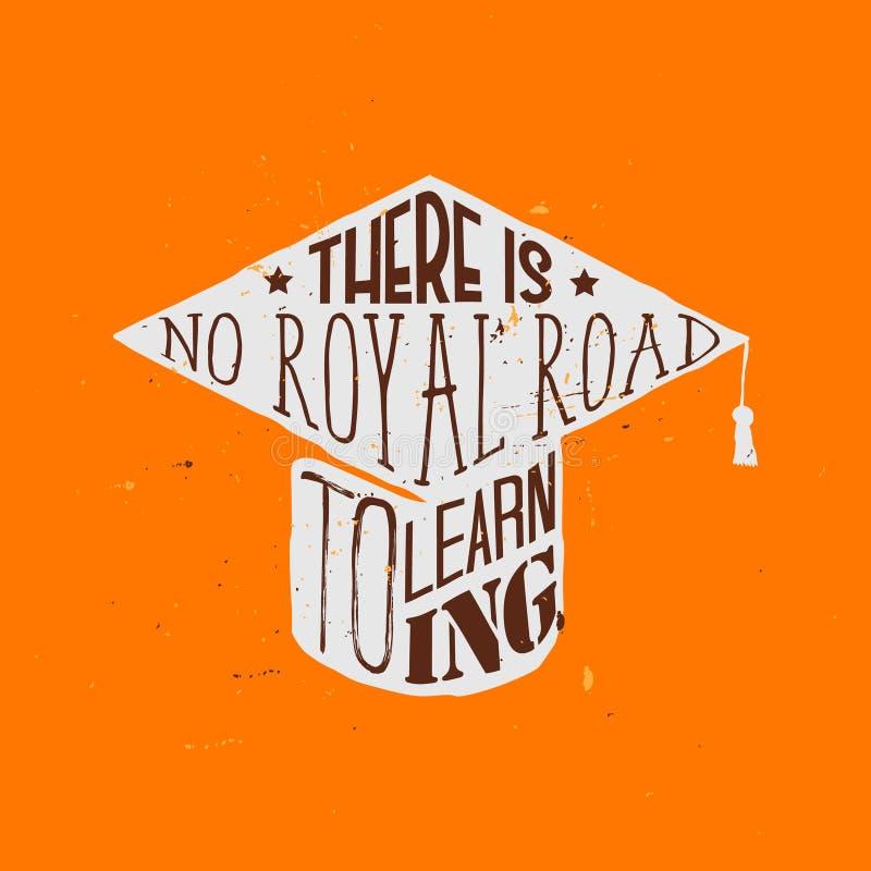 Никакая королевская дорога к учить - цитата мотивационного образования тематическая внутри квадратной академичной крышки бесплатная иллюстрация