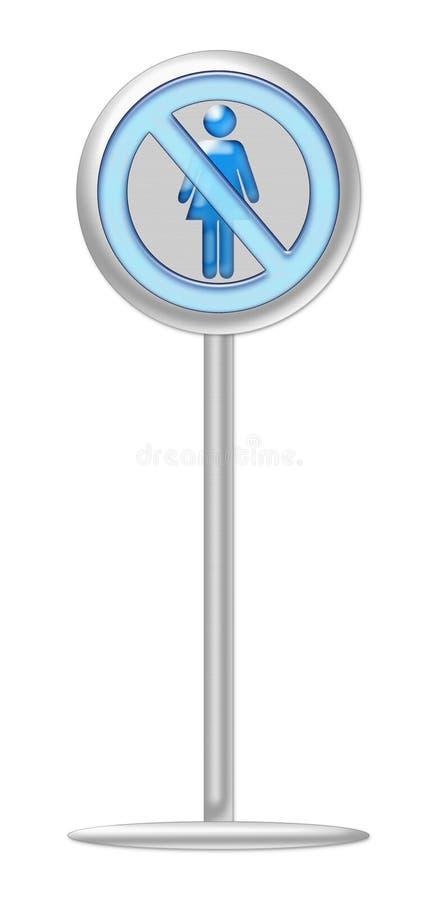 Никакая синь знака женщины с металлической стойкой, не представляет женщин не обработана справедливо в деле и корпоративном мире иллюстрация штока