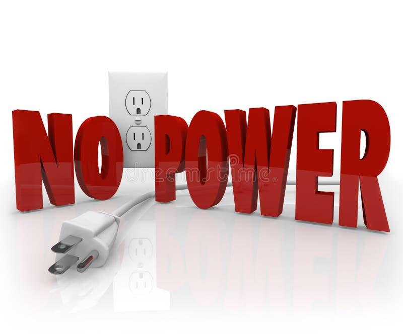 Никакая сила не формулирует электрическое повреждение электричества выхода шнура иллюстрация штока