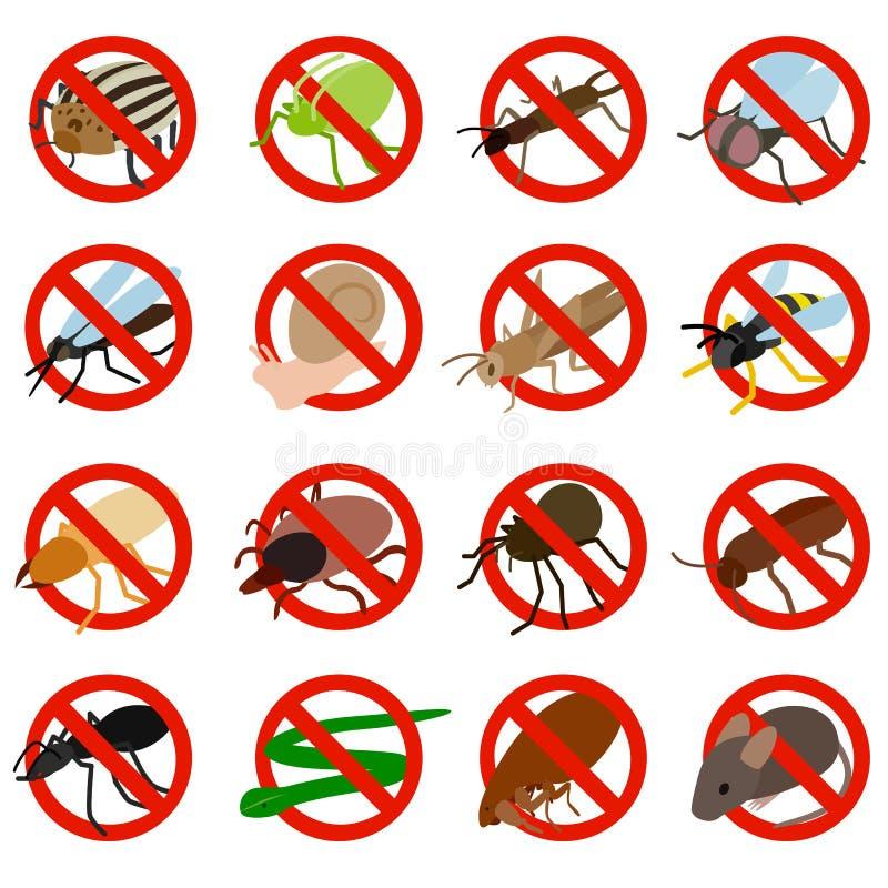 Никакие значки знака насекомого не установили, равновеликий стиль 3d бесплатная иллюстрация