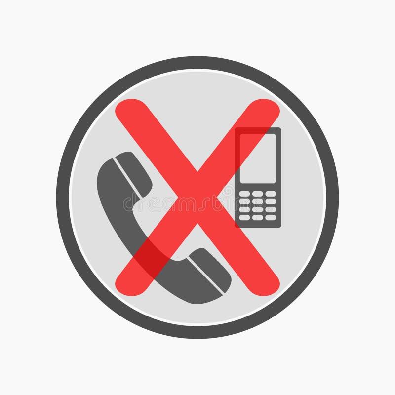 НИКАКИЕ позволенные сотовые телефоны пересеченными вне не подписывают Силуэт мобильного телефона с кнопками и антенной зацепляет  иллюстрация штока